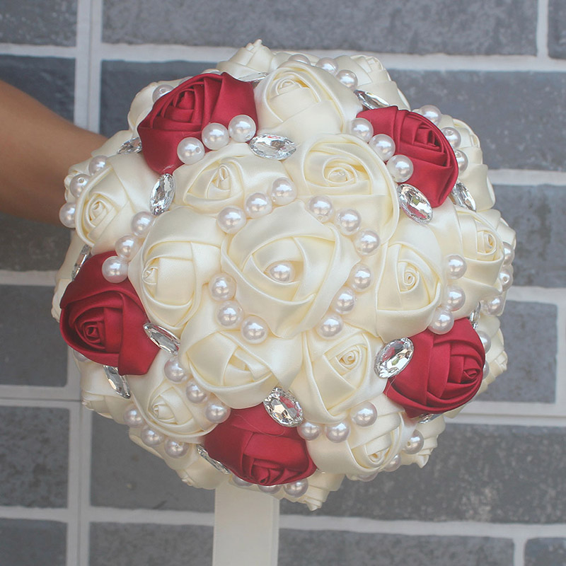 Купить с кэшбэком WifeLai-A Customizable Ivory Wine Red Bridal Wedding Bouquets Pearls Crystal Silk Flowers Burgundy Bridal Bouquets de noiva W234
