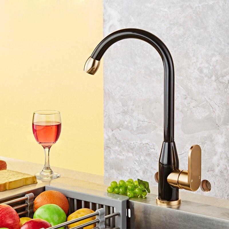 Luxury 360 Swivel Kitchen Faucet Black Gold plated Kitchen Faucet Chrome Polish Single Handle Hole Vessel