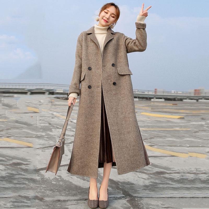 2019 Dames Laine De Printemps Élégant Femme V596 Rayé Pardessus Automne Manteaux Outwear Slim Femmes Casual Couture Mélange dHwd0Oq