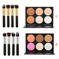 Fashion Group 6 Colors Contour Face Cream Makeup Concealer Palette + 4pcs Powder Foundation Blusher Makeup Brush set Beauty Tool