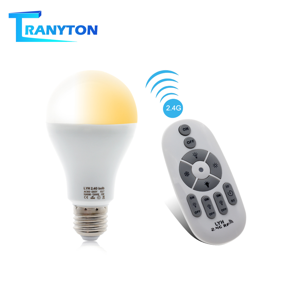 Smart LED Bulb E27 AC86-265V 6W 9W 12W LED Spotlight RF 2.4G Remote Control Smart Lighting Warm White Cold White Changeable Bulb