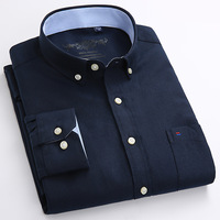 Casual Regular-fit Long Sleeve Solid Oxford Shirts 1