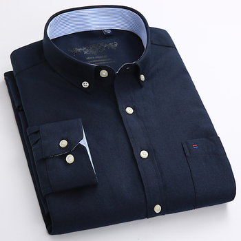2ca86c3fb Los hombres de Regular-fit manga larga sólido Oxford vestido camisa parche  bolsillo en el pecho de rayas Casual botón Plaid de algodón camisas de  mezcla