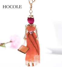HOCOLE Modern Design Handmade French Doll Necklace Lovely Long Chain Pendant Rhinestone Necklaces Women Girl Statement Jewelry