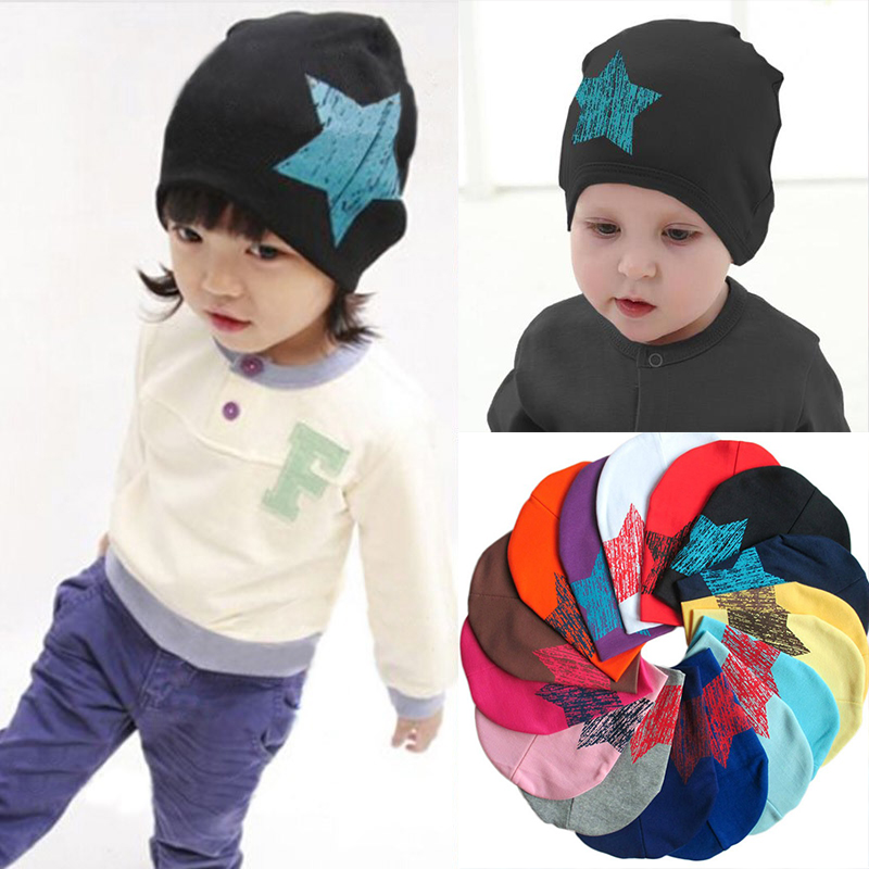 2018 hot baby Hat winter Caps Colorful Print Star Baby Beanie For Boys Girls Cotton Knit Hat Children Winter Hats Solid Cap alishebuy new big sale fashion unisex hats women men warm beanie hat ski winter cap hip hop woman letter print thick hat 29