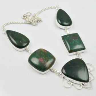 Ожерелье из кровяного камня серебряное покрытие над медью, 50 см, N2235|stone necklace|necklace silvernecklace stone | АлиЭкспресс