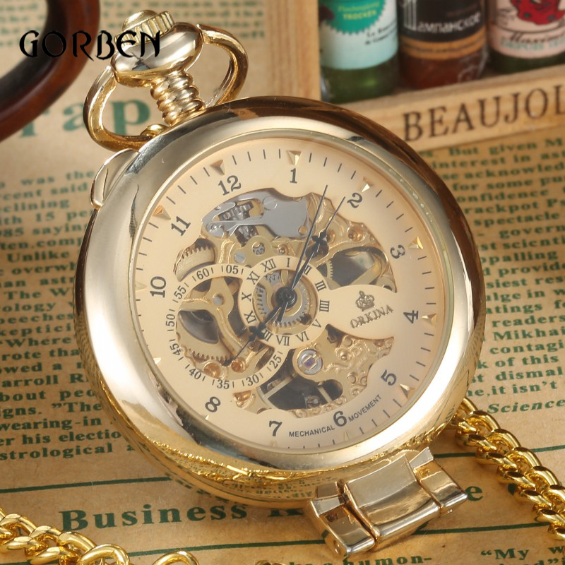 Luxury Gold Mechanical Pocket Watch Mens Roman Arabic Numberal Steampunk Mechanical Pocket Fob Watches Chain Relogio De Bolso цена и фото
