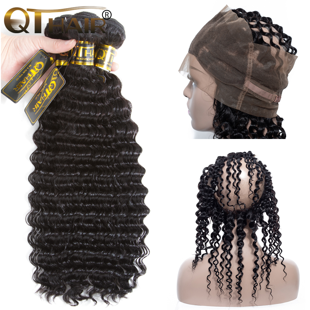QT Human Hair 360 Lace Frontal With Bundles Malaysian Deep Wave 3 Bundles With 360 Frontal Lace Front Hair Extensions