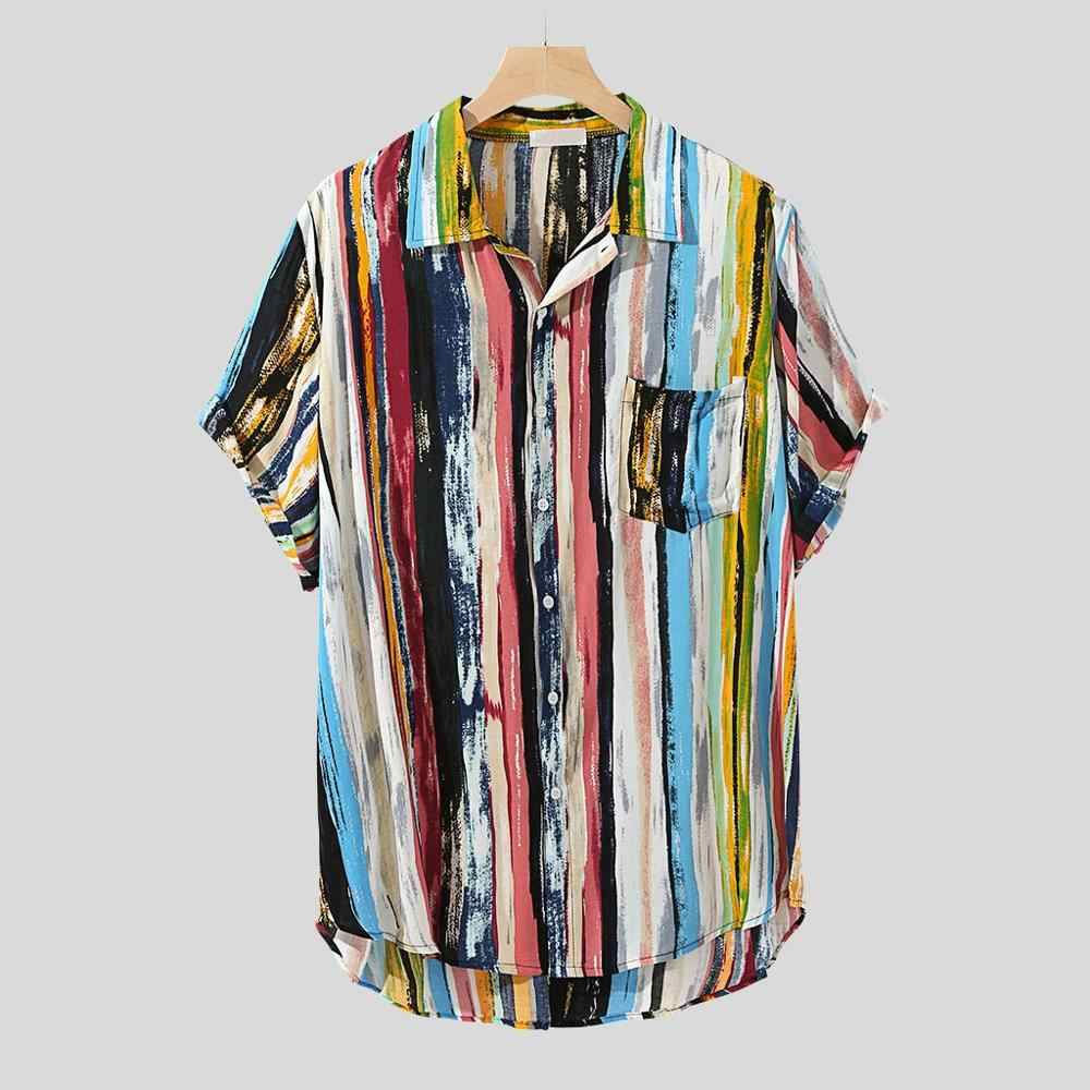 Feitong 2019 גברים חוף חולצות חולצה צבעים גוש חזה כיס Harajuku קצר שרוול עגול Loose חולצה חולצה Camisa Femenina