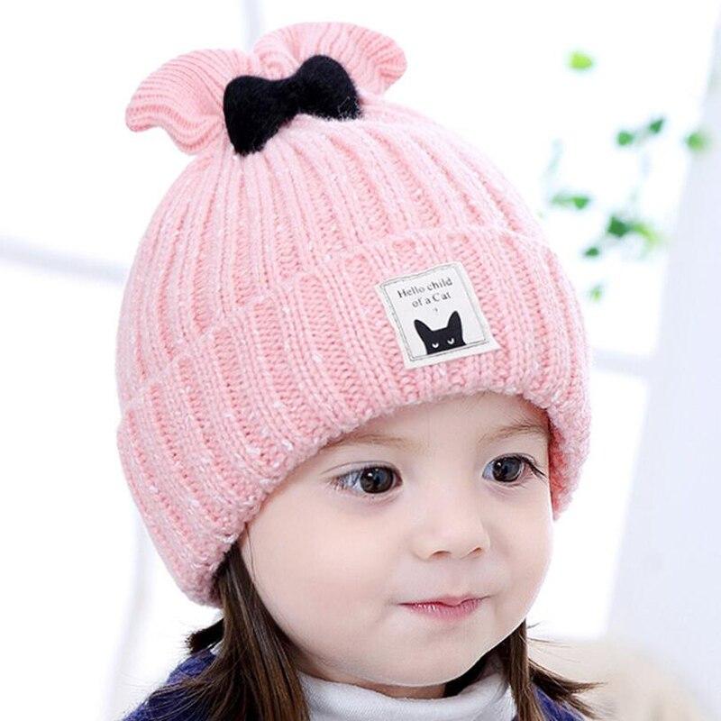 Christmas Gift Boy Girl Hat 4 Colors Children Wool Cap Baby Girls Winter Fashion Kids Beanie Hats Boys Bow tie Solid BMZ63