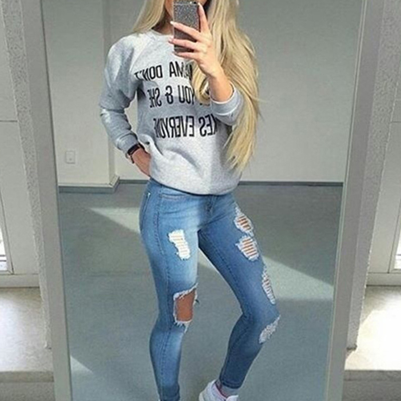 2017 Women Boyfriend hole ripped jeans Skinny Pencil pants Cool denim vintage straight for girl Mid waist casual pants female jeans woman summer ripped boyfriend jeans for women red lips denim mid waist distressed pencil pants femme casual long pants z15
