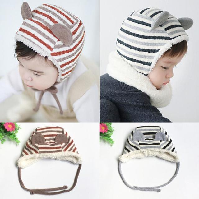 Inverno Caldo Cappello Del Bambino Berretti Berretti Per Bambini A Strisce  Berbero Berretto In Pile Cute d47eeaa14b3c