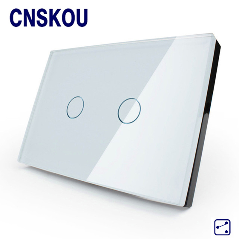 Cnskou  US Standard 110-250V Touch Switch White/Black Crystal Glass Panel 2 Gang 2 Way Touch Light Switch Smart Home smart home us black 1 gang touch switch screen wireless remote control wall light touch switch control with crystal glass panel