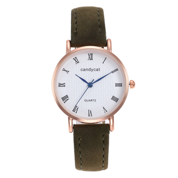 Roman Number Big Round Dial Women Leather Band Quartz Watch Famous Luxury Top Brand Simple Design Ladies Wrist Watches Clock image