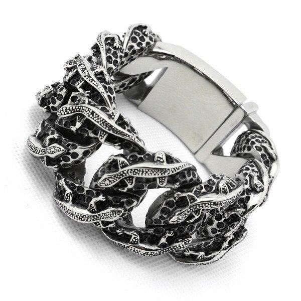 Top qualité 275g énorme lourd homme Crocodile Bracelet & Bracelet Biker chaîne 316 acier inoxydable chaud Crocodile Bracelet saint valentin
