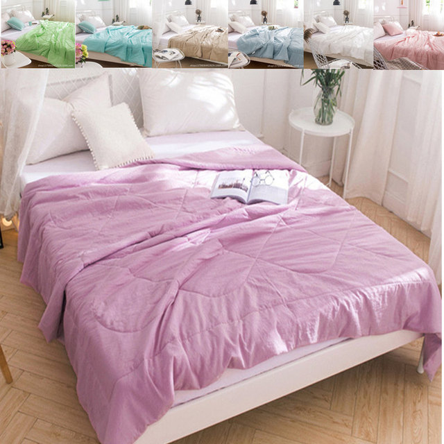 Solid Bed Duvet Washable Soft Comforter Bedspread Lightweight Cover S Quilts Pink