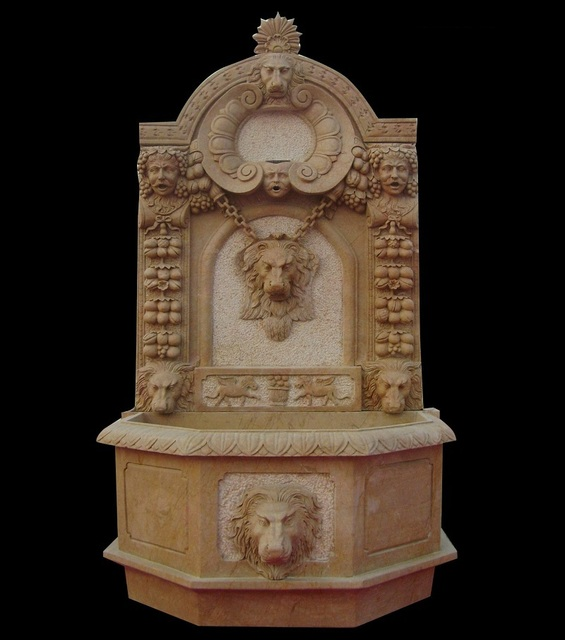 Stone Wall Fountains Outdoor Roma Style Brown Marble Carved Lion Face Garden  Outdoor Wall Fountains With