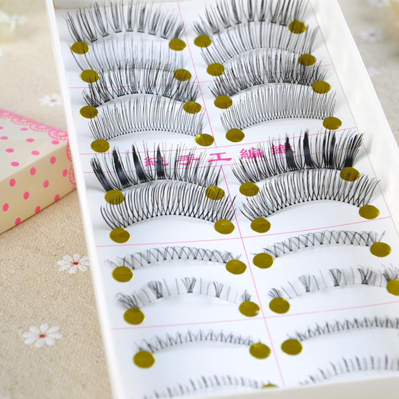 10 Pairs Mixed Style False Eyelashes Hand Made Natural Extension Eyelash For Eyes Lashes Makeup Beauty Tools Free Shipping