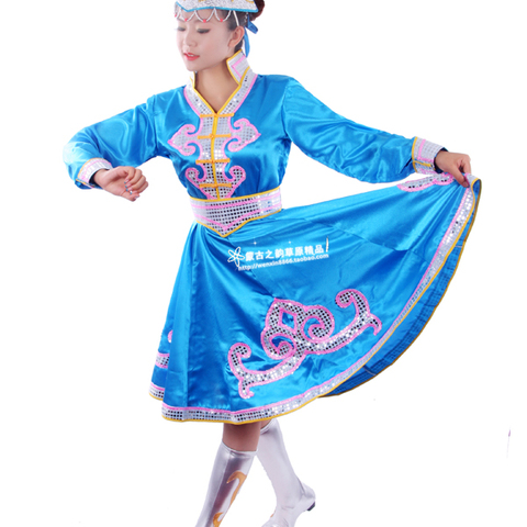 Ethnic garment Mongolia nationality clothing costumes Mongolia stage performance dance stage performance wear Free shipping Lahore