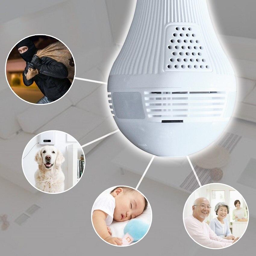 WIFI Bulb Panoramic camera 360 degree cctv Smart Home 3D fisheye VR CAM  1 3MP 2 0MP Bulb Light