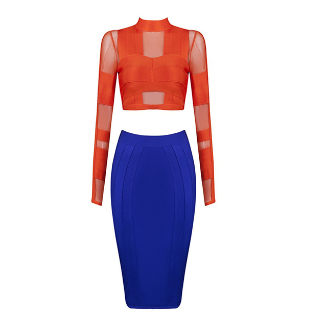 New Arrival Crop Top Long Sleeve 2 Pieces Sets Sexy Bandage Autumn Dress