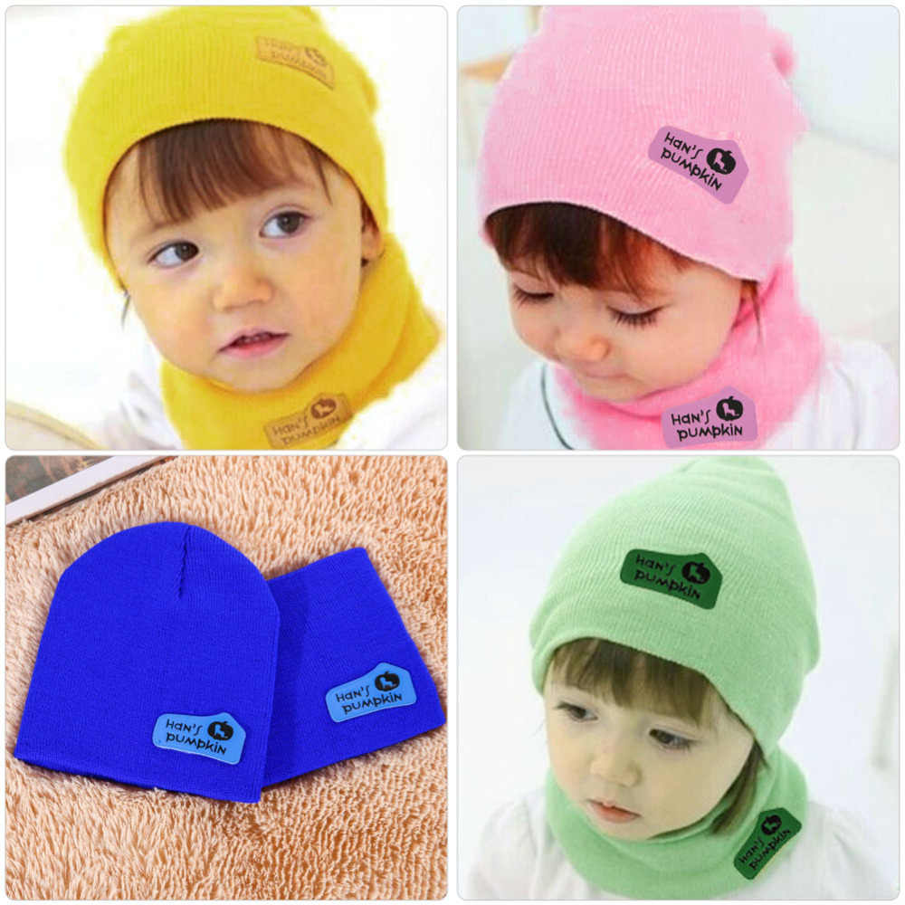 0c40db915 Cute Autumn Winter Baby Cap Scarf Set Fashion Infant Girls Boys Warm Hat  Kids Beanie Children Knitted Hat and Scarf Set 6 Colors