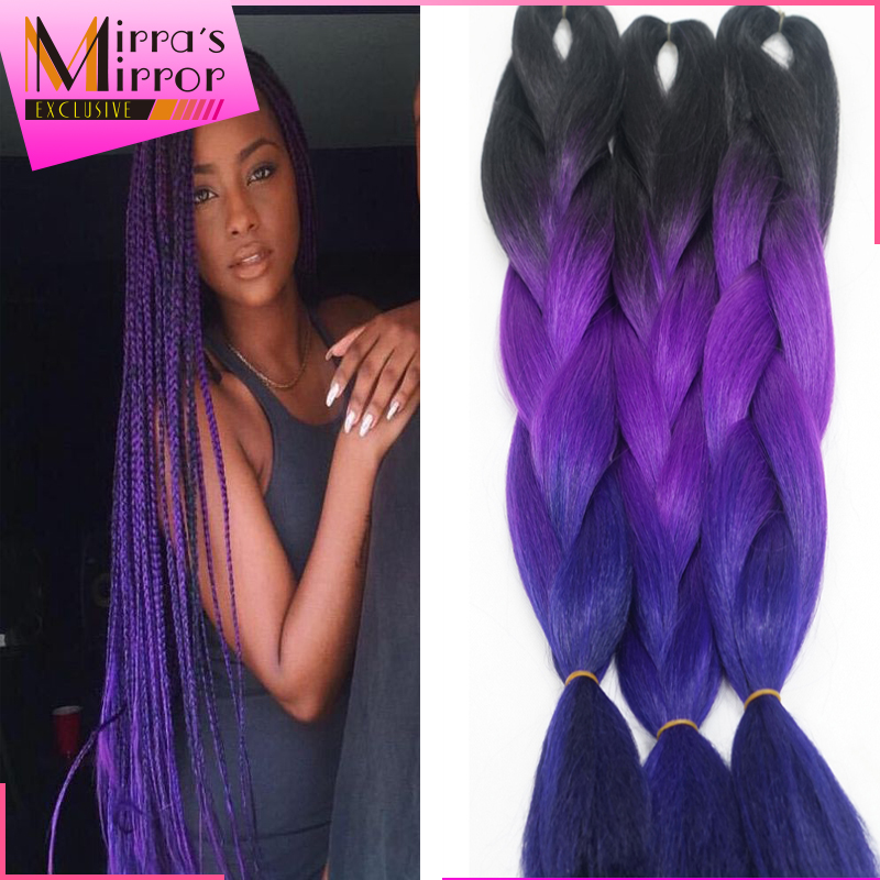 Xpression Braiding Hair 24inch Black Purple Pink Crochet