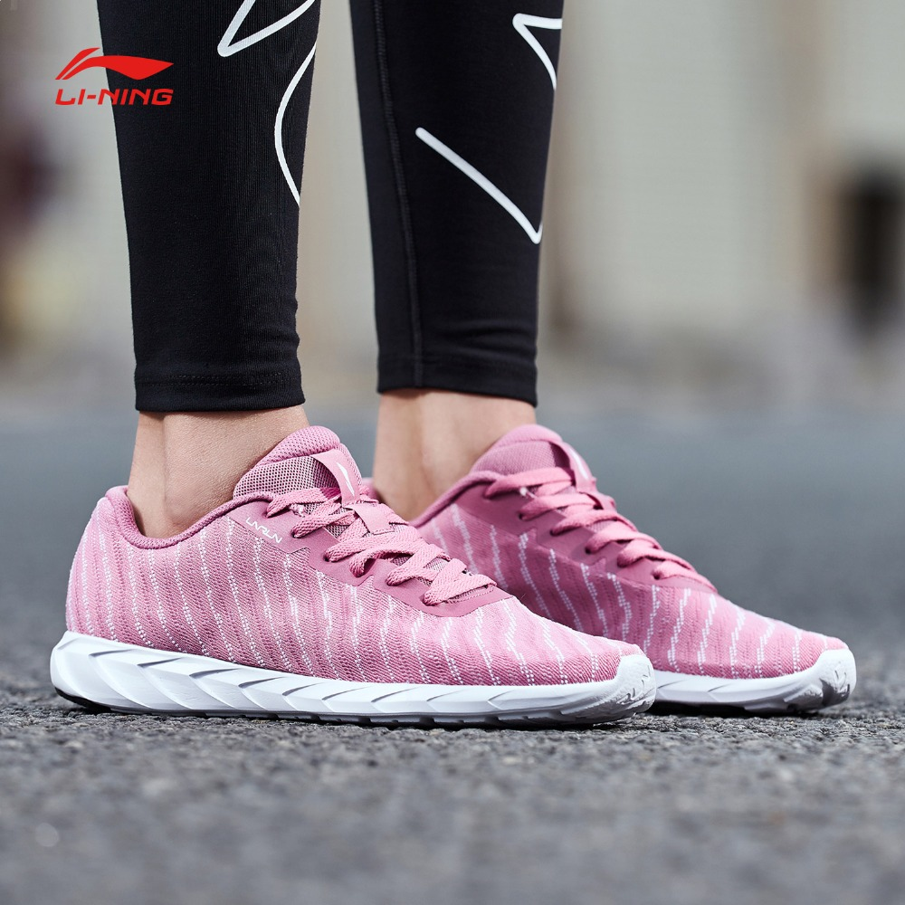 Li Ning Women BASIC RUNER Running Shoes Mono Yarn LiNing Light Weight Breathable Sports Shoes Fitness