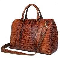 Высокое качество кожа с аллигаторовой текстурой для женщин сумки Dufflel чемодан сумка Fashoin для мужчин's сумка через плечо для путешествий 6003