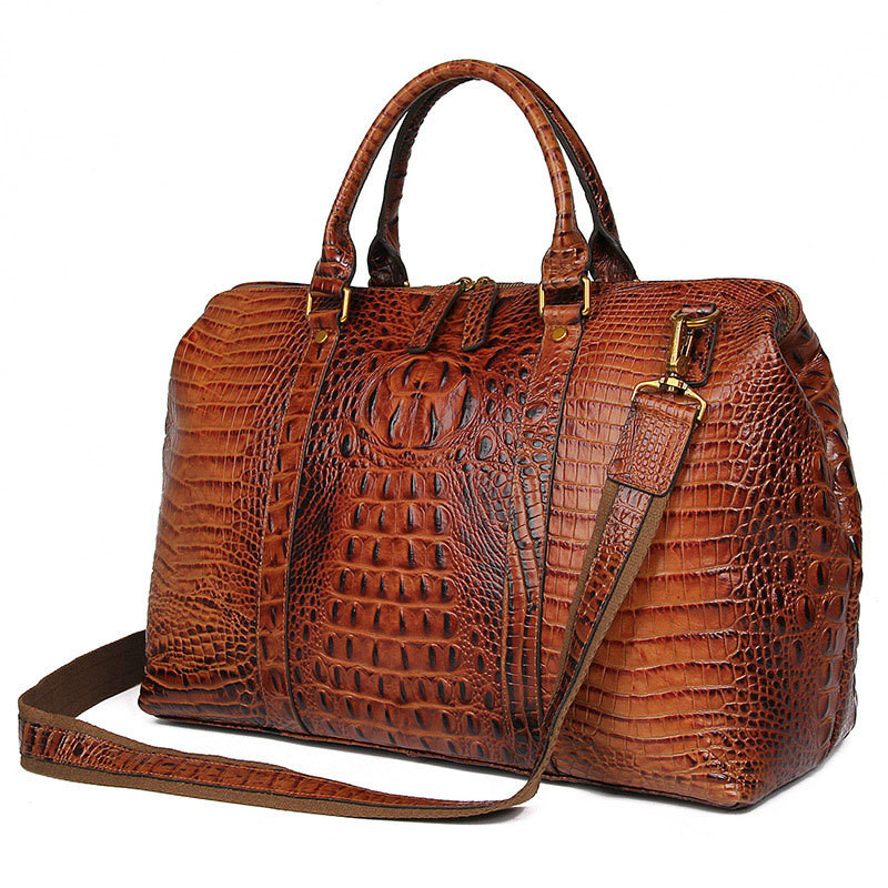 High Quality Leather Alligator Pattern Women Handbags Dufflel Luggage Bag Fashoin Men's Travel Bag Shoulder Bag 6003
