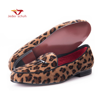 Jeder Schuh New Arrival Handmade Men Leopard Velvet Shoes With Small Tie And Round Tongue Fashion