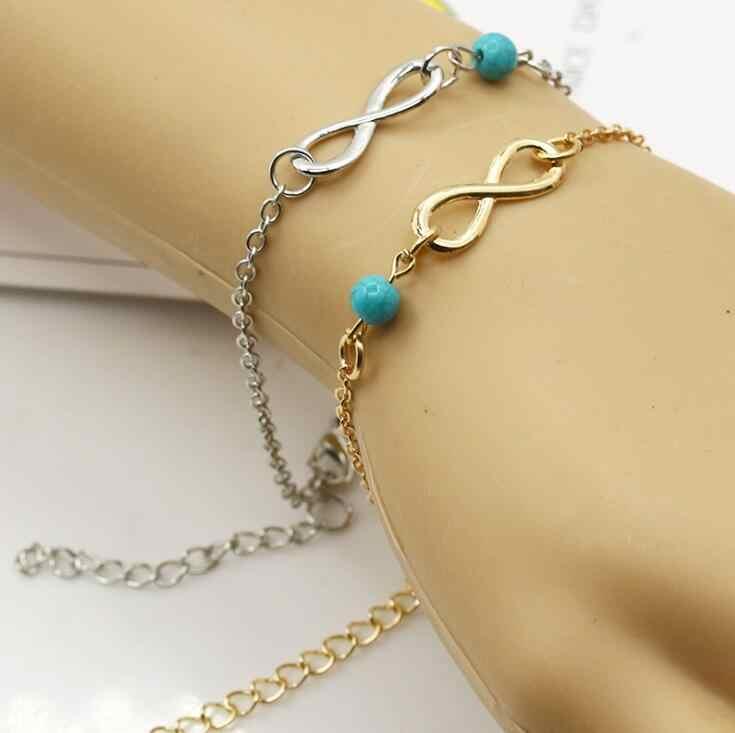 2017 nowa kostka bransoletka lato styl zielony kamień koraliki łańcuch na stopie łańcuszek na kostkę biżuteria bransoletka na nogi Anklets dla kobiety Cheville