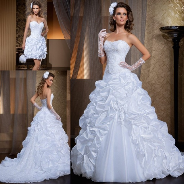 560c5d29fa3 Vintage Lace Sweetheart Neckline Beaded A-line Wedding Dresses with  Detachable Train Organza Ruched Lace up Formal Bridal Gowns