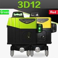 Professionelle 12 Linien 3DLevels Grün Laser Level Cross mit Tilt Funktion und Auto Nivellierung Exterior360Rotating Rot ebene upgrade|Lasernivellierer|   -