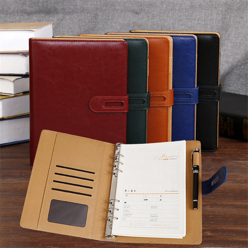 A5 Business Leather Notebook School Office Supplies Creative Stationery Coil / Spiral Diary Notebooks Conference Notepad Gift creative leather notebook a5 school office supplies stationery cute diary notebooks metal rubber buckle conference notepad gift