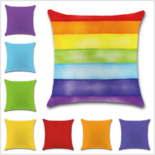 Rainbow colorful red green orange Cushion Cover Decoration sweet Home office sofa chair car friend kids bedroom gift pillowcase