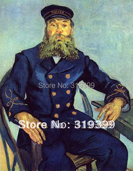 Linen Canvas Oil Painting reproduction, Joseph Roulin (The Postman) by vincent van gogh,100% handmade,Free DHL Shipping,museum