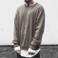 Spring Sweatshirts Mens Hoodies Hip Hop Oversize Drooping Shoulders Pullover Hole Design Olive KANYE WEST