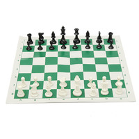 43x43cm Plastic Pieces Green Roll Kits Tournament Chess Games Set Checkers Entertainment With Friends Family Christmas