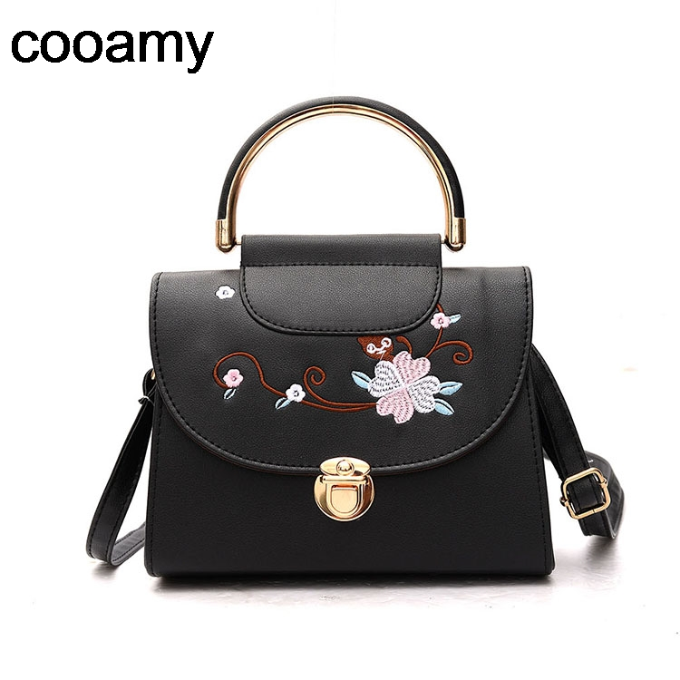 Women Embroidery Shoulder Bag Ladies PU Leather Handbag Women Messenger Crossbody Small Bag Lock Female Evening Party Clutch 2017 fashion women bag fun flamingo design embroidery handbag for girl hit square bag leisure female shoulder messenger party