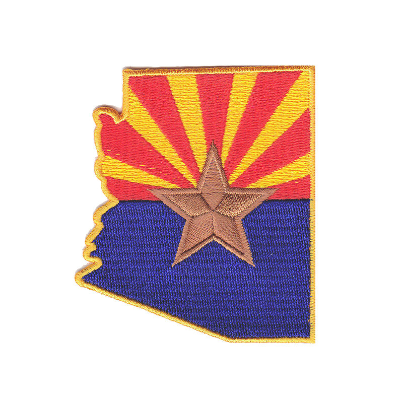 ARIZONA STATE FLAG America Southwest Embroidered Iron On Badges Patches For Clothing Cartoon Motif Applique Sticker For Clothes