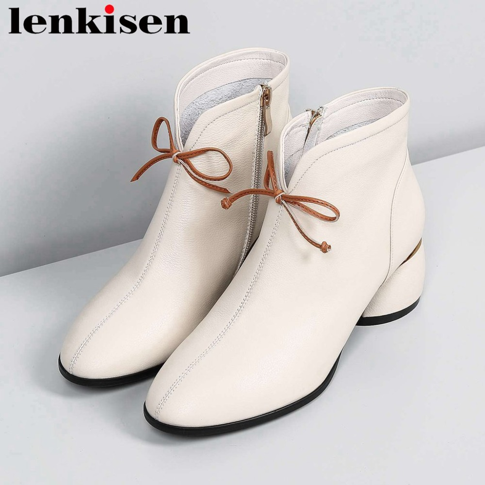 2018 superstars luxury round toe chelsea boots genuine leather med strange heels british style bowtie female ankle boots L03