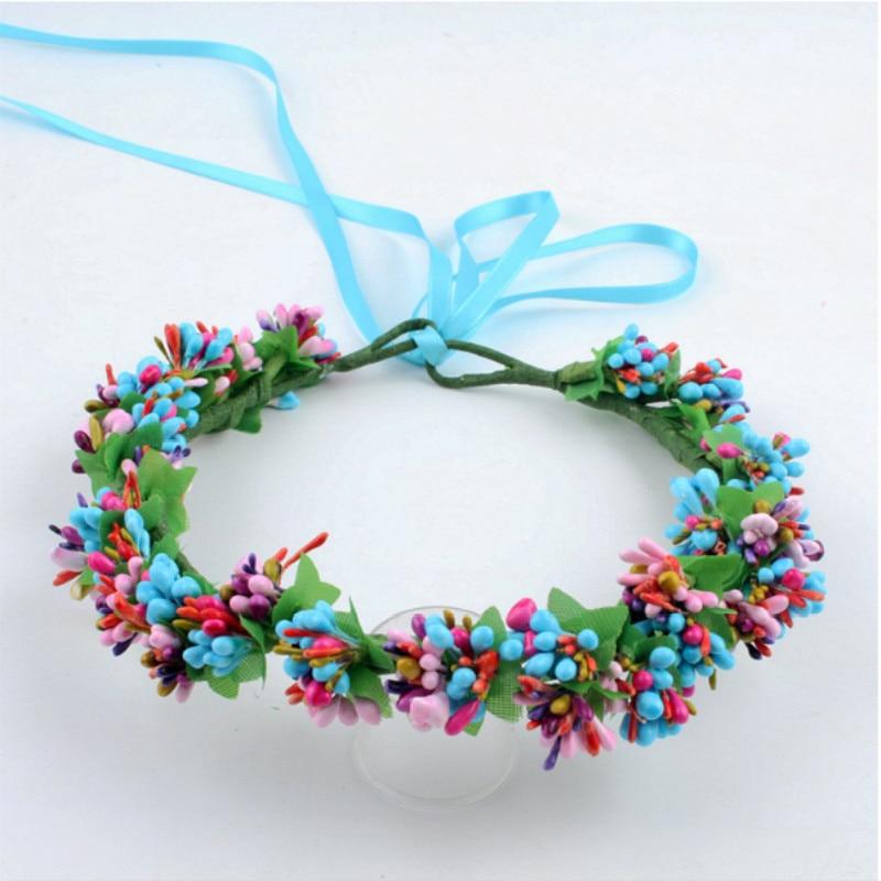 Foam stamen princess wreath artificial flower crown women hair accessories wedding bridesmaid bridal floral hairband with ribbon