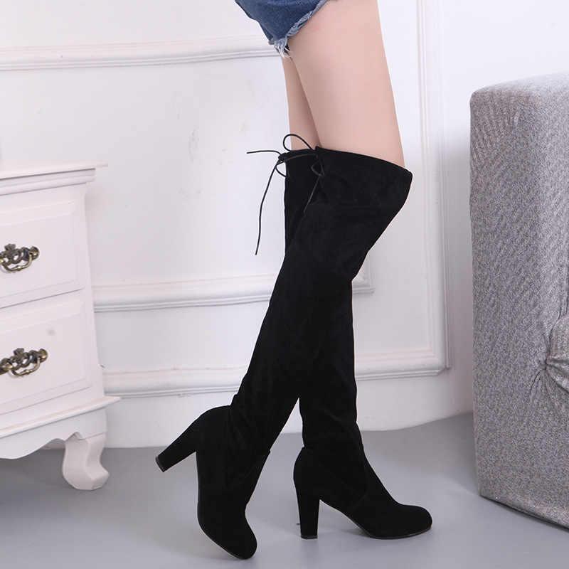 Kırmızı Sonbahar kış Kadın çizme Süet Kadın Diz Üzerinde Çizmeler Lace Up Seksi Yüksek Topuklu Ayakkabılar Kadın Kadın Ince uyluk Yüksek Çizmeler