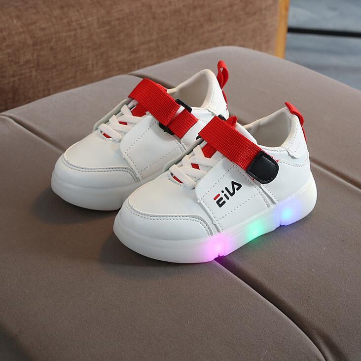 Nueva primavera y otoño de los niños de la moda Zapatos con luz Led de zapatos luminosa brillante zapatillas bebé niño niños niñas zapatos 21 -30