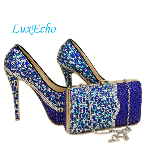 Delicieux Royal Blue Rhinestone Wedding Shoes And Bags To Match Galosh Para Dress  Shoes Woman High Heels