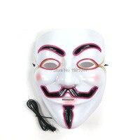 20 штук EL wire светящаяся маска Хэллоуин фестивальные декорации принадлежности для вечеринки, оптом продукт Rave пользовательские маски