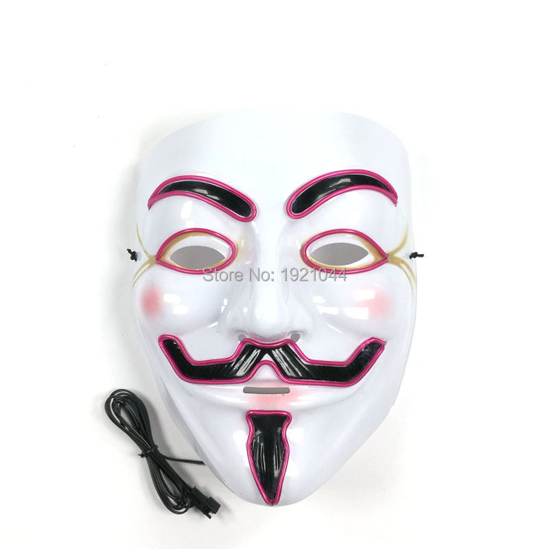 20pieces EL wire glowing Mask Halloween Decoration Festival Party Supplies Wholesale Product Rave Custom Mask