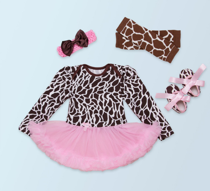 Infant Baby Girl Birthday Suit Novelty Costume Christmas Clothing Sets Leopard Romper dress Shoes Leg warmer headband Party Gift