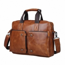 100% Cowhide men's business briefcase Genuine leather man vintage 14inch laptop computer shoulder bag Luxury leather bag LI-830
